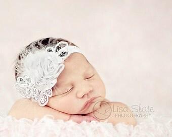 Baby headband, newborn headband, adult headband, child headband and photography prop The single sprinkled- SMALL LEAF rosie headband