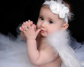 wedding headband, baptism headband, christening headband Baby headband, newborn headband,  and photography prop WHITE Chiffon Rosie headban