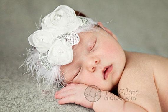 Baby headband, newborn headband, adult headband, child headband and photography prop The triple sprinkled- WHITE Chiffon Rosie headband