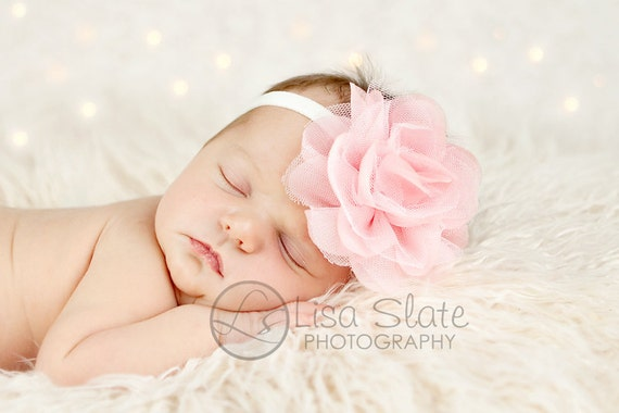 Newborn headband, baby headband, adult headband, photo prop The single sprinkled- Pink Puff flower- stretch headband