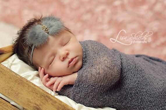 Newborn headbands Baby headband Adult headband Child headband Baby hairbow Photo prop Preemie headband fur headband hair clip