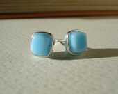 Droplets - Robin's Egg Blue Czech Glass Cube Wire Wrapped Post Earrings