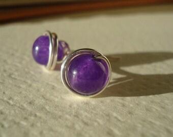 Purple Aventurine Wire Post Earrings