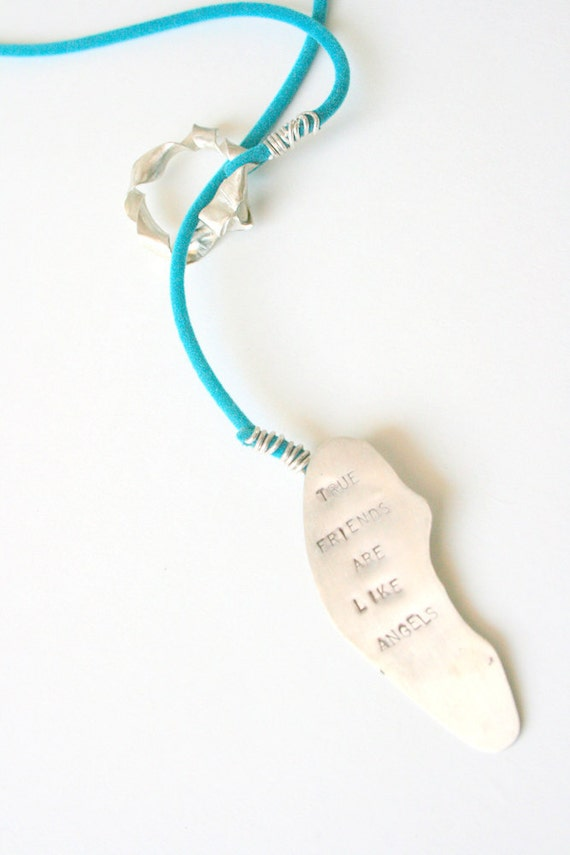Silver Turquoise Summer Necklace- Angel Friends- Turquoise Long- OOAK