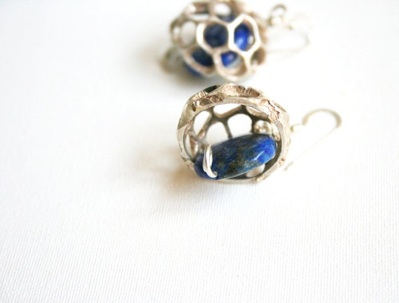 Lapis Silver Earrings OOAK Free Shipping Organic Earrings