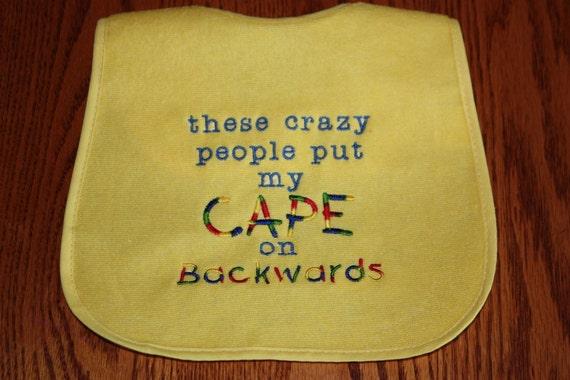 Cape on Backwards Bib - Cape Bib