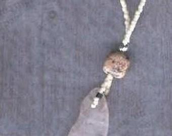 Rose quartz, pink feldspar pendant
