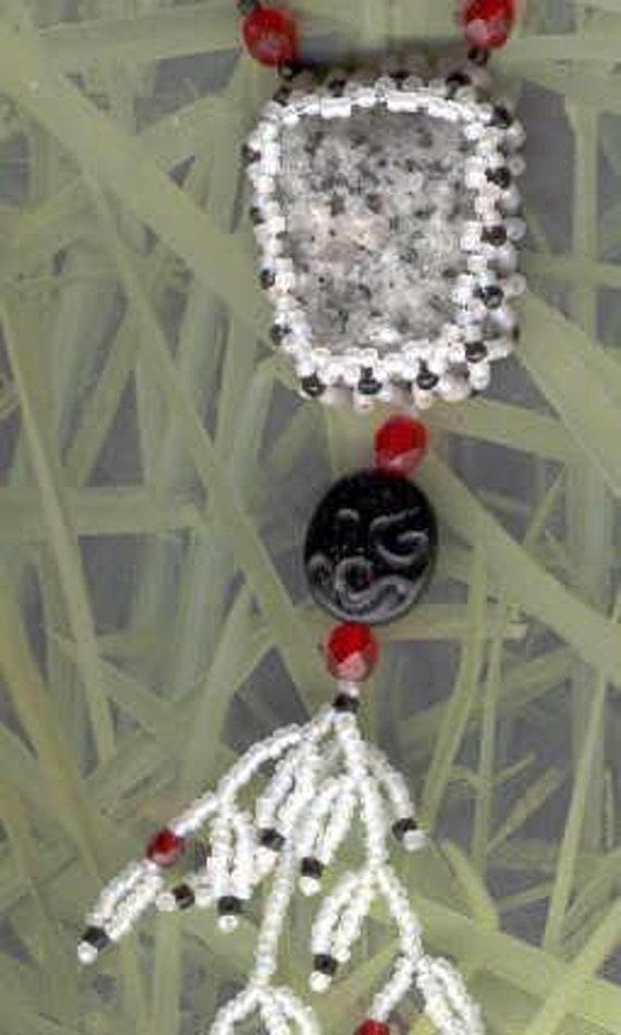 Black & White Stone Pendant with Fringe