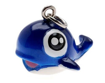 3-D Hand Painted Resin Blue Baby Whale Charm, Qty 1
