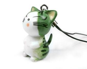 Cute Cat Cell Phone Charm, Qty 1