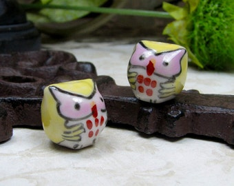 Handcrafted Porcelain Owls Beads/ Charms, Qty 2