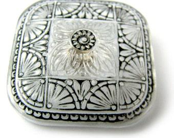 33 mm, Semi-Transparent  Square  Hand Painted  Czech Glass Button   Qty 1