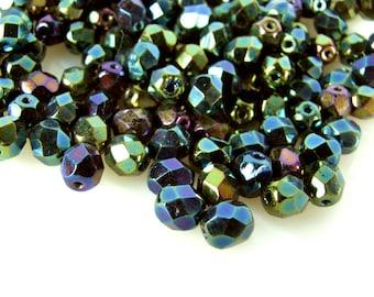 Czech Fire Polished Faceted Glass Beads, 6mm,  Green Iris, Qty: 15