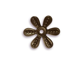 Vintaj Brass Beaded Flower Washer, Qty 6