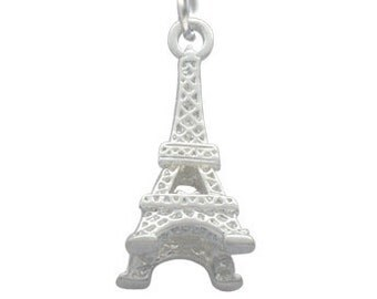 Silver Plated 3-D Eiffel Tower, Charm, Qty.1