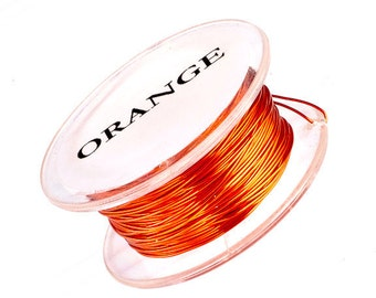 Parawire, Outrageous Orange,  Non Tarnish, Silver Plated, Craft Wire, 24 Gauge 10 yard, Qty 1 Spool
