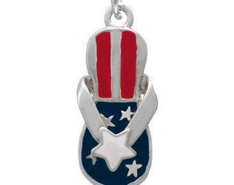 Silver Plated, Enameled,  Patriot Star Flip Flop Charm , Qty.1