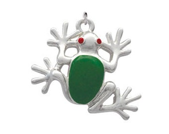 Silver Plated, Enameled, Large Tree Frog Charm, Qty: 1
