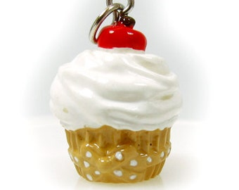 3-D Hand Painted Resin Large Vanilla Cupcake with White Frosting and Cherry on the Top, Qty 1