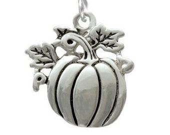 Silver Plated,  Antiqued Pumpkin Charm, Qty.1