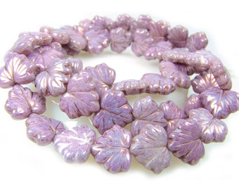 Czech  Glass Beads, 10x13mm, Vintage Dusty Lavender Maple Leaf,  Qty: 10