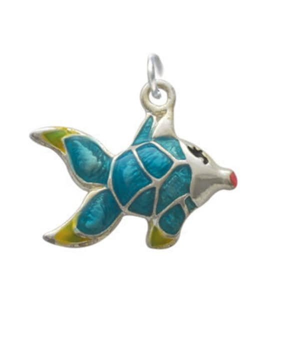 Silver Plated  Enameled Blue Tropical Fish Charm, Qty.1