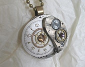 Vintage Clock Face Steampunk Pendant Necklace