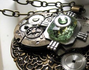Round Steampunk Antique Brass Medallion Necklace
