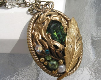 Under the Leaves Emerald Green Crystal Necklace