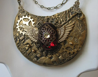 Three Chain Red Stone Steampunk Necklace