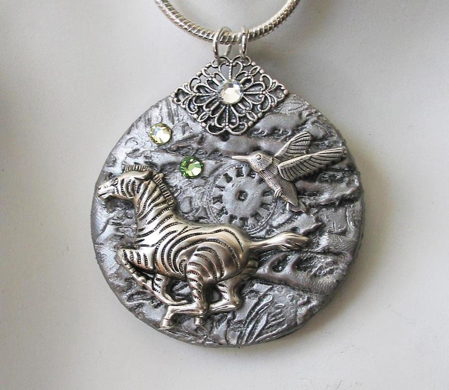 silver steunk zebra pendant necklace