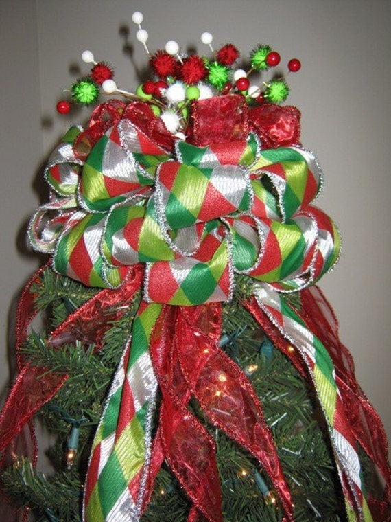 SALE Handmade Christmas Tree Topper Bow Red/White/Green with