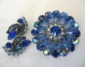 Sale - Vintage Rhinestone Jewelry - Ab Blue Rhinestone Brooch & Earrings Set