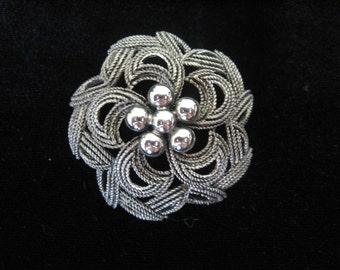 Vintage HAR Brooch Silvertone Domed Flower