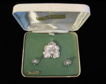 Vintage Sterling and Cultured Pearl Brooch and Earrings A Z