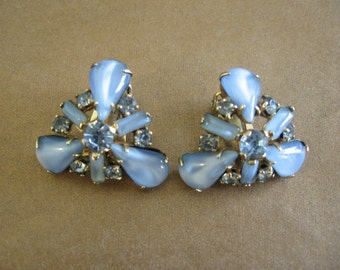Vintage Rhinestone Earrings - 12K GF Blue Rhinestone and Glass Cabochon Earrings - Something Blue