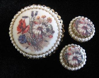 Vintage West GERMANY Jewelry Set - Sugar Brooch and Earrings w/ Faux Pearls