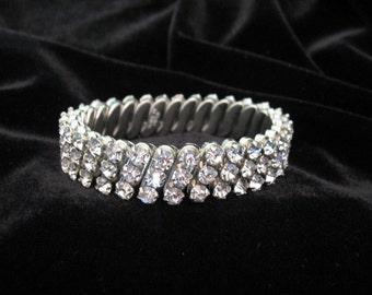 Vintage Rhinestone Bracelet - Clear Rhinestone Expansion Bracelet Japan
