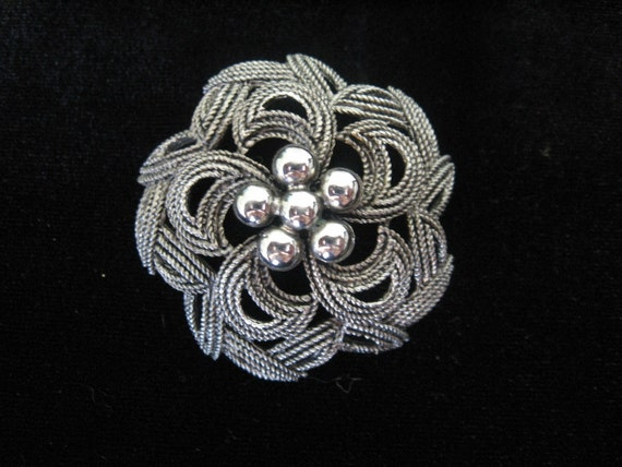 Vintage HAR Brooch Silvertone Domed Flower
