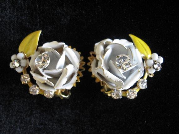 Vintage ROBERTS (Original by Roberts) Enamel, Rhinestone, and Milk Glass Flower Earrings