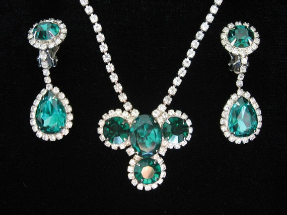 Reserved - Earrings Only - Vintage Emerald Green and Clear Rhinestone Necklace and Drop Dangle Earrings Set
