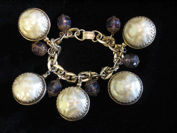 Vintage Chunky Large Faux Boroque Pearl and Amethyst Bead Bracelet