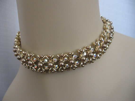 Vintage KRAMER Necklace with Champagne Faux Pearls and Ab Rhinestones