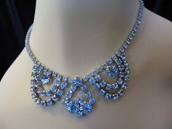 Vintage Rhinestone Necklace -  Art Deco Blue Bib Choker