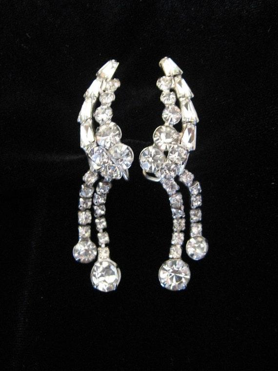 SALE - Vintage Large Clear Rhinestone Dripping Earrings