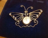 Butterfly Watch Brooch with Rhinestones