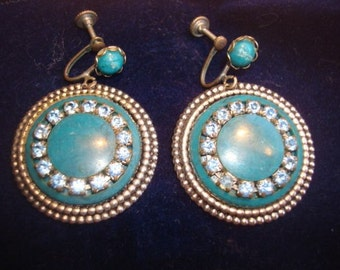 Gypsy Boho marbelized Turquoise and Sky Blue Rhinestone Dangle Earrings