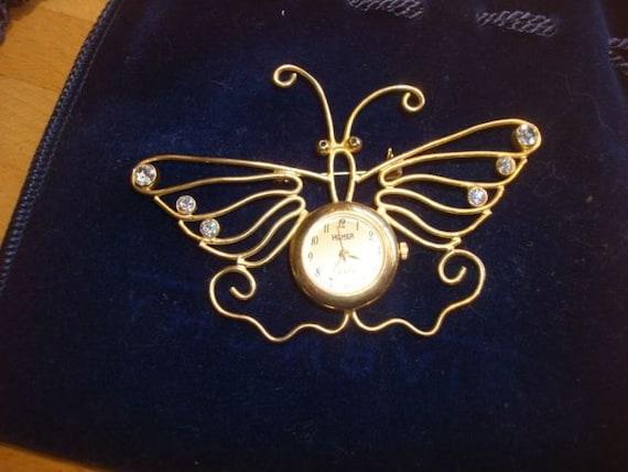 Butterfly Watch Brooch with Rhinestones