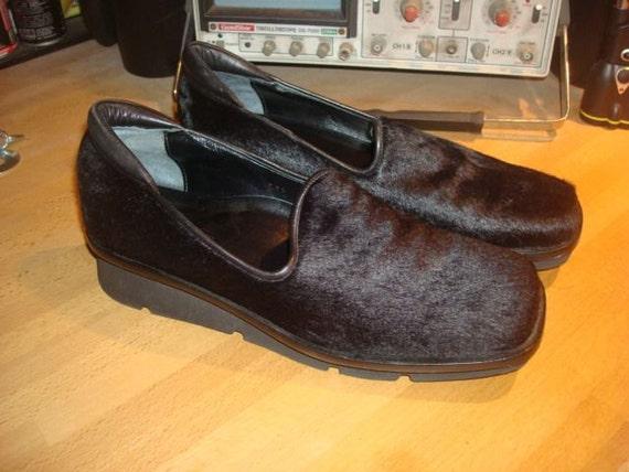 SALE Made in Italy Bloomingdales Black Fur Mules Wedges