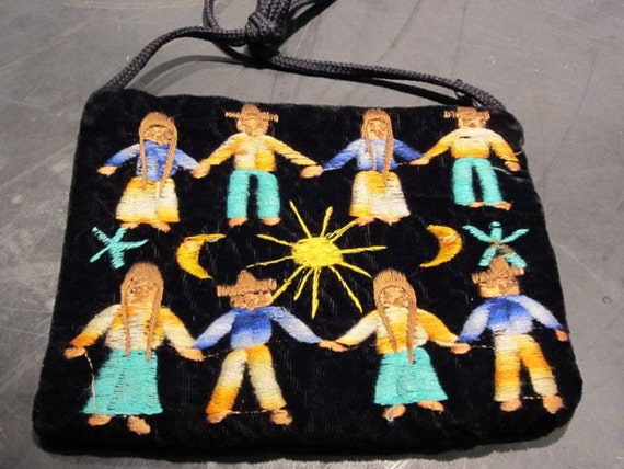 Velvet Embroidered Purse- Tribal